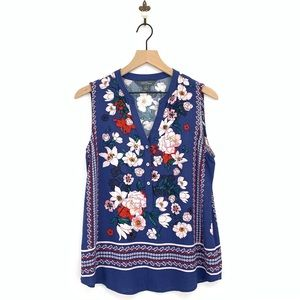 Market & Spruce Blue Floral Sleeveless Top Small